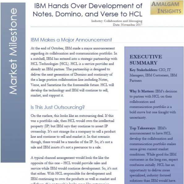 Market Milestone: IBM Hands Over Development of Notes, Domino, and Verse to HCL